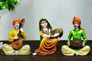 Handcrafted Set of 3 Rajasthani Musicians Idol Statue Sculptures & Figurines