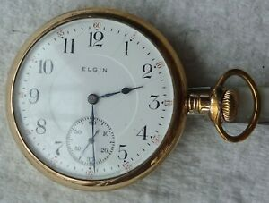 Antique Elgin watch Co. pocket watch, model 6, 16S, OF, 17J, made 1913