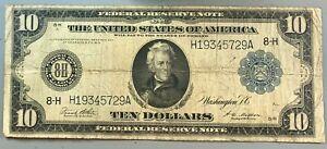Series of 1914 $10 Federal Reserve Note * FRN * Horse Blanket