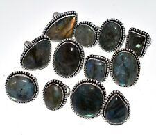 Bulk Price Lot !! 20 PCs. Natural LABRADORITE 925 Sterling Silver Plated Ring