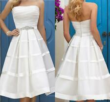 Knee Length Strapless Beach Wedding Dress Bridal Gown Custom Size 2 4 6 8 10 12+