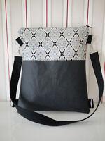 handmade wandelbare Tasche zu Rucksack aus SnapPap und Stoff, Ornamente schwarz