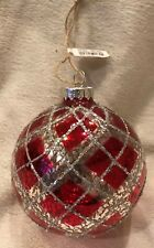 NEW Pottery Barn Red Mercury Glass Sparkle Christmas Ball Ornament NIB