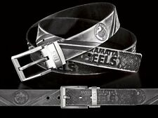 860021 PARRAMATTA EELS NRL TEAM BLACK LEATHER BELT UP TO 145CM LONG