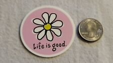 Round Life Is Good With Simple Flower Beautiful Multicolor Sticker Decal Phrase