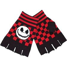 Jack Skellington Gloves Fingerless Mitts Nightmare Before Christmas Red Cheque