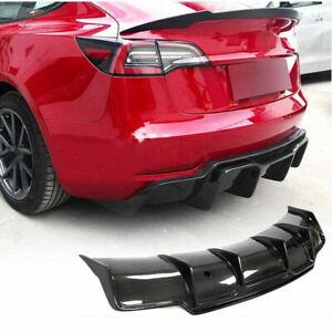 Fit for Tesla Model 3 Sedan 16-21 Carbon Fiber Rear Bumper Diffuser Lip Spoiler