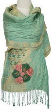 Schal bestickt Grün, Rosa, Beige Leinen, Seide silk, linen scarf green foulard