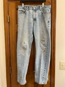 Levis 505 Jeans 36x32 Regular Fit Naturally Distressed rips & frays 100% cotton
