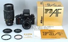 Super Rare Almost Unused Nikon F3AF w/ 80mm F/2.8 200mm F/3.5 lens Boxed Japan