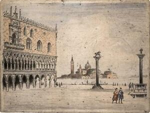 VENICE SAN MARCO ITALY Signed Aquatint Etching INDISTINCTLY SIGNED c1930