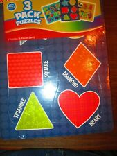 NEW Playskool 3 pack of Puzzles 2+ no, alphabet and shapes, 6 pcs ea puzzle