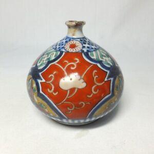 D1150 Japanese old IMARI colored porcelain ware oil pot ABURA-TSUBO as bud vase