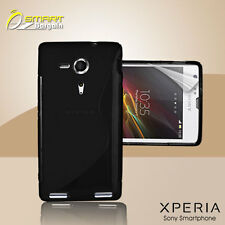 Black S Curve Gel Case+ Free SP for Sony XPERIA SP M35h Jelly Tpu soft cover