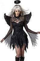 New black Fallen Angel fancy dress Halloween costume with wings one size UK 8-12