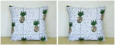"Pineapple Printed Indian Cotton Handmade Square Sofa Cushion Cover 16X16"" Set-2"