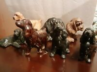 7 Assorted Porcelain and Ceramic dogs figurines, few are by Mortens Studio
