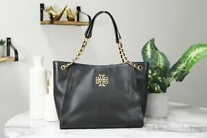 Tory Burch (73503) Britten Small Black Pebble Leather Chain Slouchy Tote HandBag