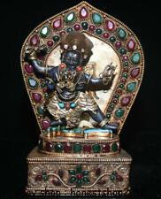"""8 """"Tibet Kupfervergoldung Lapislazuli Mahakala Zornige Gottheit Buddha Statue"""