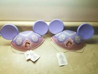 2 Disney Parks Sophia The First Pink And Purple Mickey Ears W/ Elastic Nwt