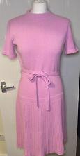 Vintage ST JOHN Knits Ladies Pink Dress Drop Waist Pleated Uk Size  8/10