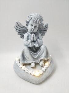 Solar Angel On Heart Light Grave Cemetery Memorial Grave Ornament