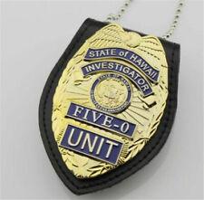 New US Hawaii Five-0 Badge Hawaii 5 o Badge & Chain Belt Leather Badge Holder