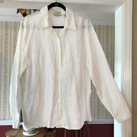 Eddie Bauer sz Tall XL 100% Irish Linen shirt white long sleeve button up blouse