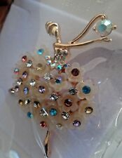BALLERINA FLOWER RHINESTONE PIN BROOCH ORGANZA POUCH JEWELRY for CAT RESCUE