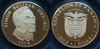 Panama 1974, 20 Balboas, Simon Bolivar, Silber 925, 131,69g PP