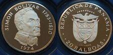 Panamá 1974, 20 balboas, Simon Bolívar, plata 925, 131,69g pp