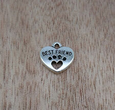 NEW Jewelry Findings,Charms,Pendants, Ancient Silver Heart best friend 10pcs