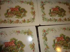"LARKRISE COTTAGES SET OF 4 HARD BACK LUNCHEON DINING PLACE MATE 11 1/2""X 8 1/4"""