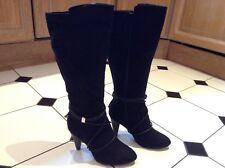 Wallis Ladies Black Suede High Heel Long Boots - Size 41 - New - RRP £69.50