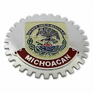 1- NEW Chrome Front Grill Badge Mexican Flag Spanish MEXICO MEDALLION MICHOACAN