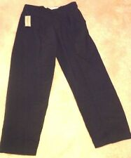 Men New Black Mountain Fox Pleated Dress Pants / Slacks 65% Polyester Size 34/32