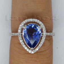 Gemstone Jewelry Natural Diamond Tanzanite Ring Solid 14K White Gold Pear 7x9mm