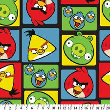 Fleece Angry Birds Bird Squares on Black Fleece Fabric Print by Yard (A325.10)