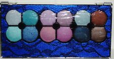 PROFUSION 12 Shades Of Eyeshadow In Blue & Black Lace Compact 2 Double End App
