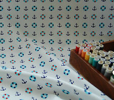 100% Cotton Fabric Material Nautical Anchor White  HALF METRE #016