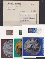v1353 Liechtenstein/ Münzen  MiNr 710/12 auf 3 MaxiCard