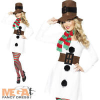 Miss Snowman Ladies Christmas Fancy Dress Festive Xmas Novelty Holiday Costume