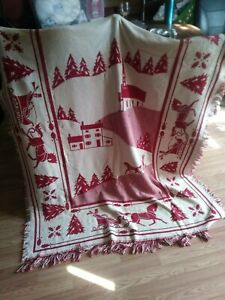 Christmas Throw Blanket Sled Church Trees Reversible Red and White Fringe 54x72