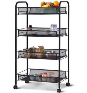 4 Tier Basket Storage Trolley Black Kitchen Holder Organizer Shelf with Wheels