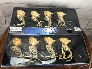 8 Piece Set Of Dangling Skeleton String LED Lights Halloween Indoor Outdoor New