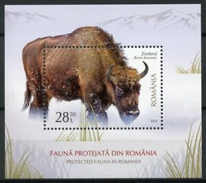 Romania 2019 MNH Protected Fauna Bison 1v M/S Wild Animals Stamps