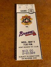1993 Pittsburgh Pirates v Atlanta Braves Baseball Ticket Greg Maddux dances