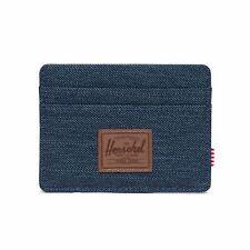 Herschel Charlie RFID Wallet Credit Card Case Indigo Denim Crosshatch Saddle