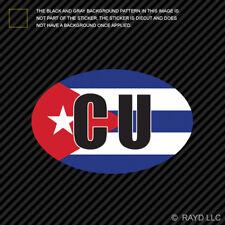 Cuba Oval Sticker Die Cut Decal Cuban Country Code euro CU v4