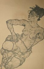 Egon Schiele, Kneeling Female Semi-Nude, Hand Signed Lithograph